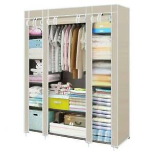 Triple Fabric Canvas Clothes Hanging Storage Organiser Wardrobe Cupboard Shelves