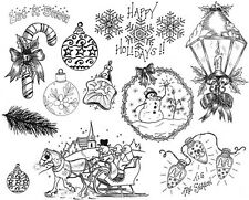 Unmounted Rubber Stamp Sheets, Christmas Stamps, Holiday, Snowman, Ornaments