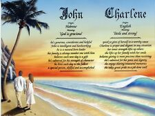 """""""Couple on Beach 1"""" Double Name Meaning Print Personalized (Love Romance)"""