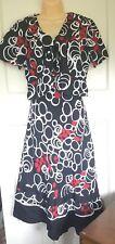 Pomodoro Linen Dress & Jacket Set Black Red White Circles Pattern Size UK 10