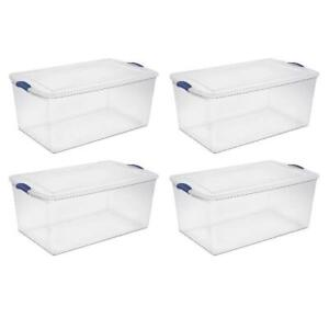 Sterilite 4-Case 105 Qt./99 L Latch Box Plastic Storage Boxes Stack Neatly Clear