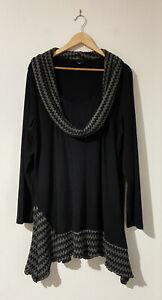 City Chic Plus Size M 18 Black Long Sleeve Dress Tunic Knit Workwear Winter