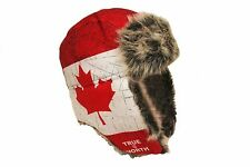 TRUE NORTH CANADA COUNTRY FLAG ADULT TRAPPER FURRY WINTER HAT ..NEW