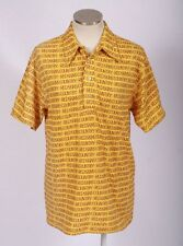 Vintage 70s Retro AMF REDSKINS Yellow Red Graphic Text Knit Bowling Polo Shirt M