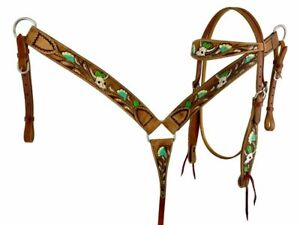 Showman Hand Painted Skull, Flower and Cactus Headstall Set! FREE SHIP!