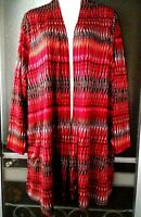 WOMEN'S SUSAN GRAVER LONG SLEEVE OPEN FRONT CARDIGAN JACKET WITH POCKETS SIZE XL