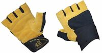 Mens Heavy Duty Weightlifting Gym, Cycling Outdoor Leather Sports Gloves Strap
