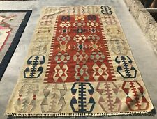 Authentic Hand Knotted Vintage Turkish Wool Kilim Area Rug 6 x 4 Ft (203 BN)