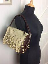 Authentic Bottega Veneta Beaded Canvas & Leather Shoulder Bag. Superb Rrp £1300