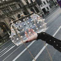Women Evening Party Acrylic Transparent Clutch Bag Pearl Handbag Crossbody Bags