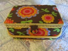 Vintage 60's floral padded sewing basket box case with handle Rattan trim arou