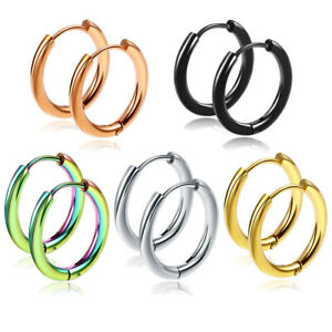 2-10PCS Stack Hoop Nose Ear Hinged Tragus Ring Septum Clicker Surgical Steel S03