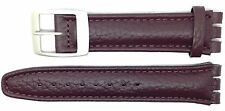 New 19mm (22mm) Leather Strap Compatible for Swatch® Watch - Brown - 400CC22
