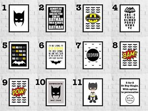 A4 BATMAN PRINTS for Boys Bedroom / Home Decor Ideas / Superhero Bat Man Picture