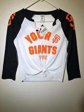 Pink by VS SF Giants White/Black Baseball Raglan Split Neck 3/4-Sleeve T-Shirt