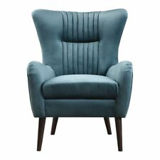Mid Century Modern Teal Blue Arm Wing Chair | Sculpted Back Tapered Leg