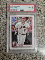 Mike Trout PSA 10 GEM MINT 2020 Bowman #1 Anaheim Angels Baseball Card
