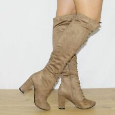 Unbranded Patternless Suede Lace-up Heels for Women