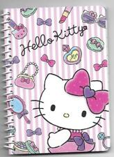 Sanrio Hello Kitty Spiral Notebook Pink Stripes Makeup