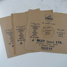 "3x 78rpm 10"" card gramophone record sleeves J RILEY , HALIFAX"