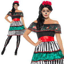 Day of the Dead Senorita Doll Costume Halloween Womens Ladies Fancy Dress Outfit