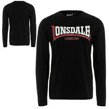 Lonsdale Black Two-Tone Classic SEAMILL Slim-Fit Long-Sleeve T-Shirt 100% Cotton