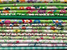 15 Fat Quarters Bundle GREEN Polycotton Fabric Offcuts Scraps Remnants