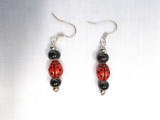 CUTE GLASS RED LADY BUG LADYBUG & BLACK PORCELAIN BEADED DROP EARRINGS LADY BUGS