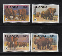 Uganda 1991 Car WWF Elephants Sc. 948-951 cplte mint never hinged