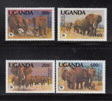Uganda 1991 Car WWF Elephants Sc. 948-951 cplte mint never hinged