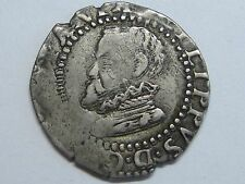 (15)96 PHILIP II 1/2 REAL COB HALF CROAT BARCELONA SPANISH SPAIN SILVER