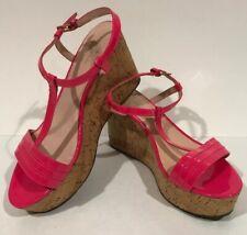 Kate Space Women Sz 10 M Tallin Lipstick Hot Pink Cork Strap Wedge Sandal