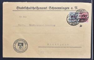 GERMANY 1923, $$$, Württemberg State Officials on Inflation Cover SCHWENNINGEN >