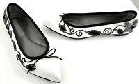 AGL Attilio Giusti Leombruni White Flats Shoes Black Beads & Trim Size 7 or 8