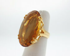 HUGE 35.00cts Natural Citrine Solid 18k Yellow Gold Cocktail Ring Fine Jewelry