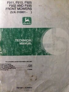 John Deere F911 F925 F932 F915 F935 Front Mower Tractor Technical Service Manual