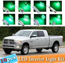 10-pc Green LED Interior Light Bulbs Package Kit Fit 02-2010 Dodge Ram 1500 2500