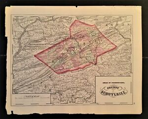 """1872 antique hand colored MAP pa SCHUYLKILL county 17.25""""x13.75"""""""
