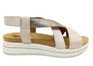 Sandali donna IGIeCO 7161433 scarpe platform con zeppa casual comoda pelle italy