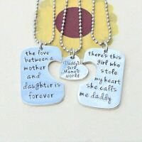 *UK Shop* 925 SILVER PLT 'DADDY'S GIRL MAMA'S WORLD' STOLE MY HEART LOVE FOREVER