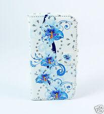 Samsung Galaxy S8 G950 Case Flip Etui Tasche Hülle Orchideen blau weiß Strass