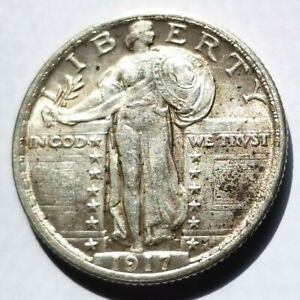 1917 TYPE 2 STANDING LIBERTY QUARTER AU ABOUT UNCIRCULATED ORIGINAL COIN NICE!