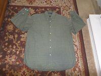 JOHN ASHFORD MEN'S GREEN PLAID BUTTON FRONT DRESS SHIRT SIZE XL