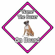 Personalised Dog On Board Car Safety Sign - Boxer On Board Pink