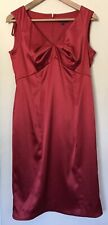 Debenhams Debut Stunning Red Satin Finish Special Occasion Dress Size 12