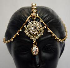 CZ Gold Plated Indian Women Hair Jewelry Bridal  Maang Tikka Matha Patti f5m18