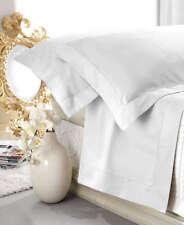 Completo Lenzuola Matrimoniale Raso di Cotone Aurora Bianco Ottico Orlo a Giorno