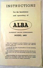 1960 Rare Vintage ALBA Stereogram Model 6401 - Instructions & Operation Brochure