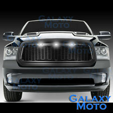 13-17 Dodge RAM Raptor Style Matte Black Replacement Mesh Grille+Shell+White LED