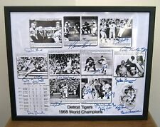 1968 Detroit Tigers  World Series 16 x 20 w 16 Printed Signatures Framed Photo !